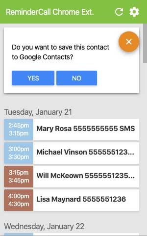 Google Reminder Contacts